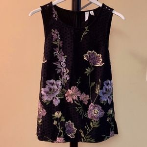 NWOT Anthro Black Sleeveless Top w/Embroidery